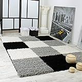 Paco Home Tapis Shaggy Longues Mèches Hautes Carreaux Gris Noir Blanc, Dimension:70x140 cm...