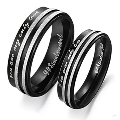 Freundschaftsringe silber schwarz  bigsoho Edelstahl Ringe Ehering