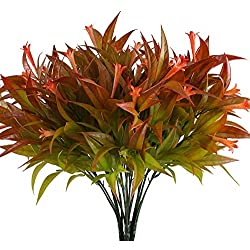 NAHUAA Plante Artificielle 4 pcs 5 Forks Plantes Plastique Trompette d'herbe Orange Fleur Rouge Fausses Plantes pour Intérieur, Extérieur, Maison, Bureau, Mariage, Balcon