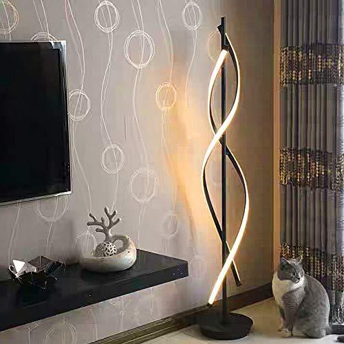Standleuchten Dimmbare LED Spirale Stehlampe - ELINKUME 30W Einstellbar Licht Moderne Kreative Einzigartige Art Perfekt für Innendekoration Beleuchtung/Wohnzimmer Lampe (Schwarz) -