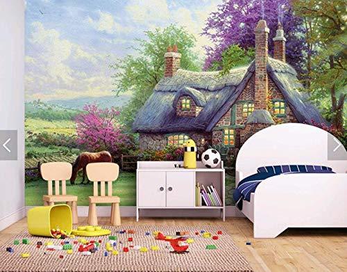 Kinderzimmer cartoon tapete mural umwelt hintergrund wand schlafzimmer märchenschloss ländlichen ölgemälde, 150 × 105 cm