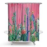 Gnzoe Polyester Duschvorhang Kaktus Muster Design Vorhang Waschbar für Badezimmer/Badewanne Stil 2 175x180CM