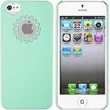 Mint Grün Herz Design hart Hülle Tasche Case COVER Bumper für Apple iPhone 5