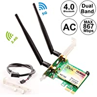 Ubit AC 1167Mbps with Bluetooth4.0 Network Adapter, 2.4Ghz-300Mbps/5Ghz-867Mbps PCIE Wireless WiFi Network Card Dual Band Gigabit Adapter for PC(WIE7265)