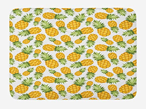 JIEKEIO Yellow and White Bath Mat, Pineapples Tropical Climate Fruits Sweet Ripe Juicy Food, Plush Bathroom Decor Mat with Non Slip Backing, 23.6 W X 15.7 W Inches, Earth Yellow Green White