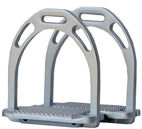 Reitsport Amesbichler AMKA Aluminium Steigbügel im Metallic Design, leicht mit großer Öse, extra breite Anti-Slip Einlage silberfarben