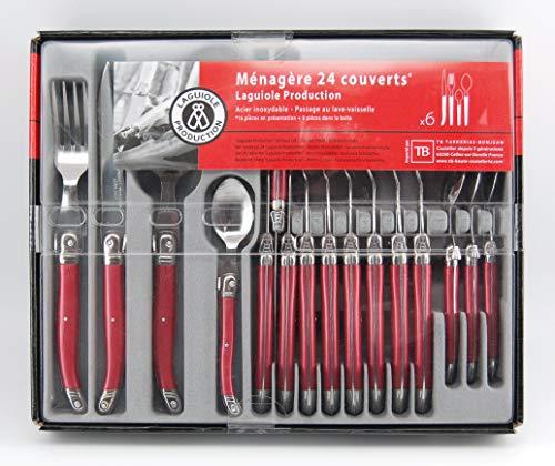 Laguiole production - set posate 24 pezzi - set posate in acciaio inox e abs per 6 persone - confezione regalo di presentazione - colore perla rossa