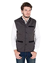 Zoravie Mens Patterned Cotton Sleeveless Nehru Jacket, Black