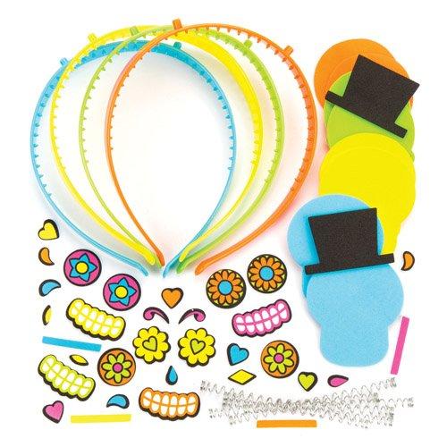 Kopfschmuck-Sets Tag der Toten als lustiges Spielzeug für Kinder zum günstigen Preis - perfekt als kleine Party-Überraschung für Kinder zu Halloween (4 Stück)