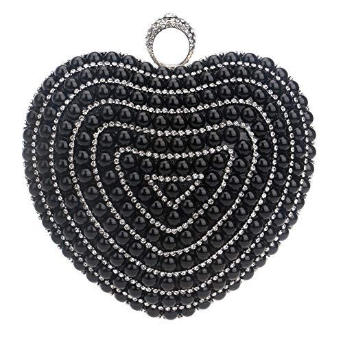 Herzförmiger Tasche (YCX Damen Clutch, Abendtasche, Damen Herzförmige Perlen Party Tasche, Braut Hochzeit Tasche, Prom Tasche, Brieftasche,A)