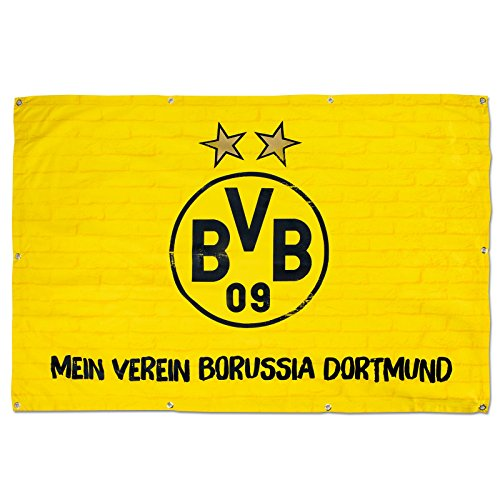 Borussia Dortmund BVB 17130100 Balkonfahne 150x100cm, Schwarz/gelb, 150 x 100 x 1 cm