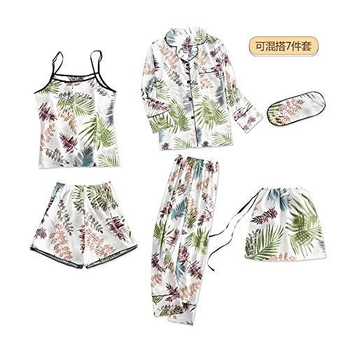 rbst 7 Stück Set Seide Elegante Frauen Pyjamas Silk Shorts Langarm Top Elastische Taille Hosen Silk Lounge, 9105, M ()