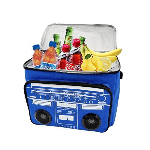 Picknick Kühltasche,Potensic® Kühlbox Wasserdichte Lunchbag IsolierteKühltasche Mit Bluetooth-Lautsprecher für Familie bei Grill, Strand, Reisen-Blau.