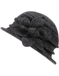 6eb48371fb1 CHIC-CHIC Ladies Vintage Elegant Wool Cloche Bucket Hat Winter Warm Flower Brim  Cap
