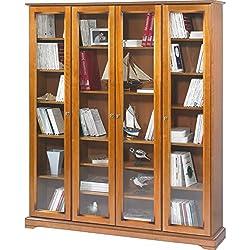 Beaux Meubles Pas Chers - Bibliothèque 4 Grandes Portes Vitrées Merisier