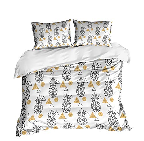 KTLRR Ananas Thema Bettbezug Sets Keine Tröster Geschenk, Polyester, Abstract Pineapple, King(240x220cm,3pcs) - Abstract Tröster