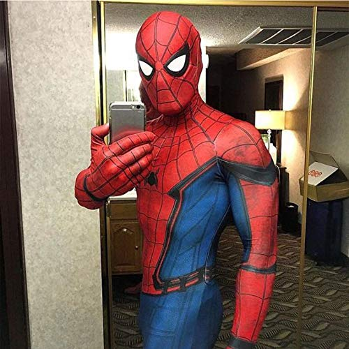 Spiderman Kostüm Kind Erwachsener Cosplay Kostüm Superhelden Halloween Mottoparty Onesies 3D Druck Spandex Strumpfhosen,Red-XL