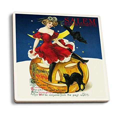 (Salem, Massachusetts–Halloween Hexe und Halloween-Kürbislaterne–Vintage Postkarte, keramik, mehrfarbig, 4 Coaster Set)