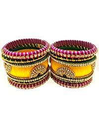 SURATNA Party Wear Traditional Rajasthani Silk Thread Stone Work 2 Pc Set Multi Color Bangles Set For Girls &...
