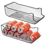 MetroDecor mDesign Juego de 2 Cajas de almacenaje para frigorífico y armarios de Cocina – Contenedores de plástico con Capacidad para 9 latas – Práctico Organizador de Nevera – Gris Humo