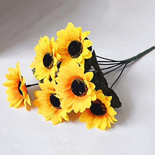 Gemini _ Mall® 7Köpfe Künstliche Sonnenblume, Blumen, Seide, für Hochzeiten/Gräber/Vasen/Home Dekoration