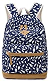Fashion Feather Print Shoulder Backpack Schoolbags for Teens Girls (Blue)