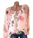 Legendaryman Frühling und Herbst Oberteile Damen Freizeit Druck Tee Shirts Hemden Tuniken Blouse Mode EIN Wort Kragen Langarmshirts Tops T-Shirt Bluse
