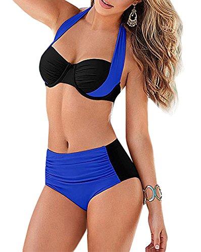 YaoDgFa Sexy Strand Damen Bikini Set Push Up Bademode Badeanzüge Bikinis für Frauen Mädchen Bandeau Zweiteilig Neckholder (Bikini Bademode Strand)