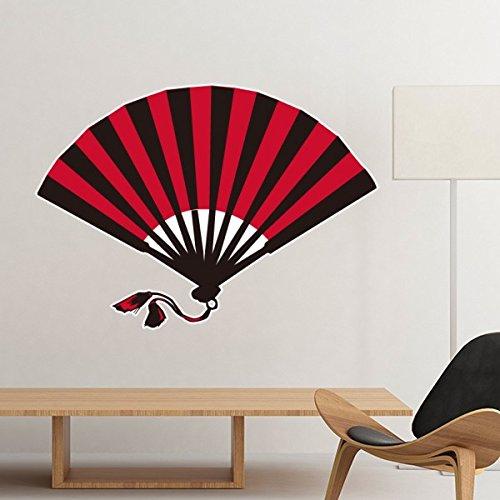 Japan Kultur Japanischen Stil, Rot Schwarz Fan Art Illustration Muster Abnehmbare Wand Aufkleber Art Aufkleber Wandbild DIY Tapete für Raum Aufkleber