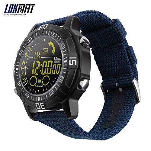 lokmat Smart Watch Sport all' Aria Aperta Orologi pedometro Smartwatch Bluetooth Smart Elettronica per iOS Android Phone (Nero)