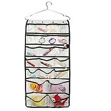 42Taschen doppelseitig Accessory Organizer für Closet transparent Hängeverpackung Tasche