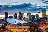 Alu Dibond 30 x 20 cm: Saddledome-Stadion und Skyline von Calgary, Kanada von Matteo Colombo