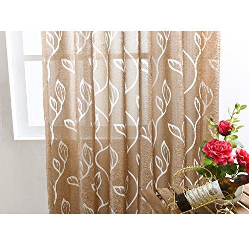 Vosarea Gardinen Transluzente Fensterscheiben mit Blättern Muster Voile Tüll Vorhänge Vorhänge Stangentasche für Wohnzimmer Küche (Kaffee) 100x200 cm -