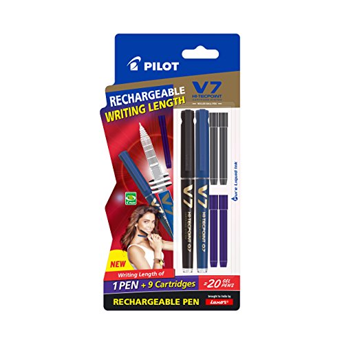 Pilot-V7-Hi-tecpoint-Pen-with-cartridge-system-1-Blue-1-Black-Pen-2-Blue-cartridges-2-Black-cartridges