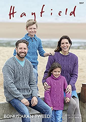 Hayfield Family Sweaters Knitting Pattern 7897 Aran