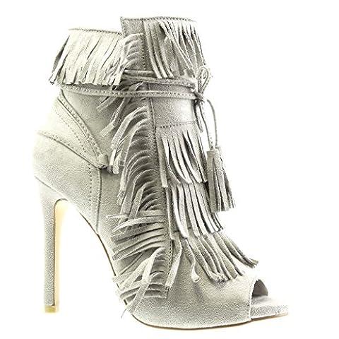 Angkorly - damen Schuhe Stiefeletten Pumpe - Stiletto - Offen - Franse - Bommel - Spitze Stiletto high heel 11 CM - Grau C-242 T