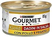 Purina Gourmet Gold Umido Gatto Dadini in Salsa con Pollo e Fegato, 24 Lattine da 85 g Ciascuna, Confezione da