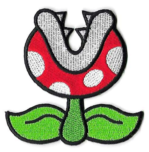 Bowser Koopa Kostüm - Fire Piranha Pflanzen-Aufnäher (7,6 cm) Super Mario Brothers bestickt zum Aufbügeln oder Aufnähen auf Abzeichen Kostüm/Cosplay Applikation Venus Fliegenfalle Feuerblume Souvenir