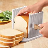 SYGA Bread Slicer Foldable And Adjustable Bread Toast Slicer Bagel Slicer Cutter Mold With 4 Slice Thicknesses (White)