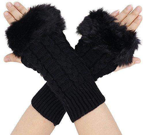 Simplicity Winter Warmer Women Faux Knitted Hand Wrist Fingerless Gloves, Black2