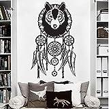 zqyjhkou Wolf Dreamcatcher Aufkleber Wandkunst Dekor Aufkleber Vinyl DRE Dekoration Wandbild Sti...