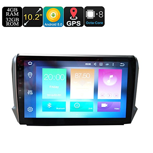 Peugeot One Din Car Stereo 10.2 Inch Display 4+32GB Android 6.0 GPS WiFi
