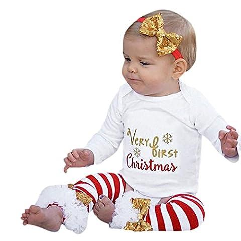3PCS Infant Bébé Vêtements de Noël, Famille Lettre Romper +
