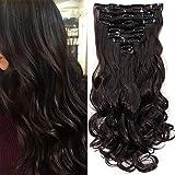Clip in Extensions wie Echthaar Dunkelbraun Haarteile 8 Tresssen günstig komplette Haarverlängerung Gewellt 17