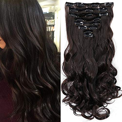Extension clip capelli marrone scuro sintetici mossi lunghi 24 pollici 60cm full head hair extension 8 ciocche