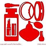 Perfumería, Cosmetics, Perfume, de laca de uñas, efecto espejo, de cara de polvo, diseño con forma de pintalabios (19 cm x 19 cm) color rojo para baño, infantil, para niños juego de pegatinas decorativas, vinilo de coche, Windows y adhesivo decorativo para pared, diseño de pared Windows, adhesivo, diseño de vinilo adhesivo para ThatVinylPlace
