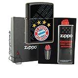 Zippo Feuerzeug FC Bayern München black matte mit Geschenkset