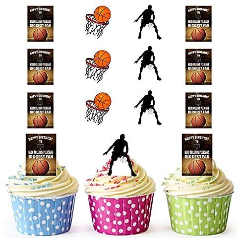 vorgeschnittenen New Orleans Pelikane Biggest Fan–Basketball, Happy Birthday Kuchen Topper (Pack von 12)