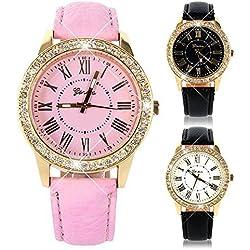 Women Bling Crystal Faux Leather Analog Quartz Wrist Watch Charm Watch