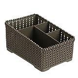 iTemer PP plastica Desktop Storage Box Multifunzionale Cestino portaoggetti Organizer 4griglia Sub-Grid per Telecomando, Cosmetici, Porta Penne (Nero)